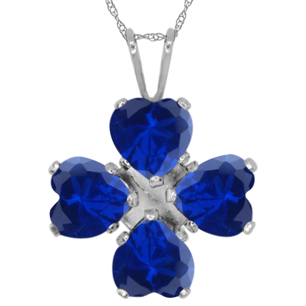 3.84 Ct Heart Shape Blue Simulated Sapphire 925 Sterling Silver Pendant