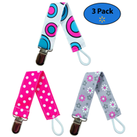 EliteBaby Pacifier Clip Holder for Girls, 3 Pack | Teething Toys, Soothie Pacifiers, Baby Blanket, & Baby Bibs | Stainless Steel Clasp | Baby Gift