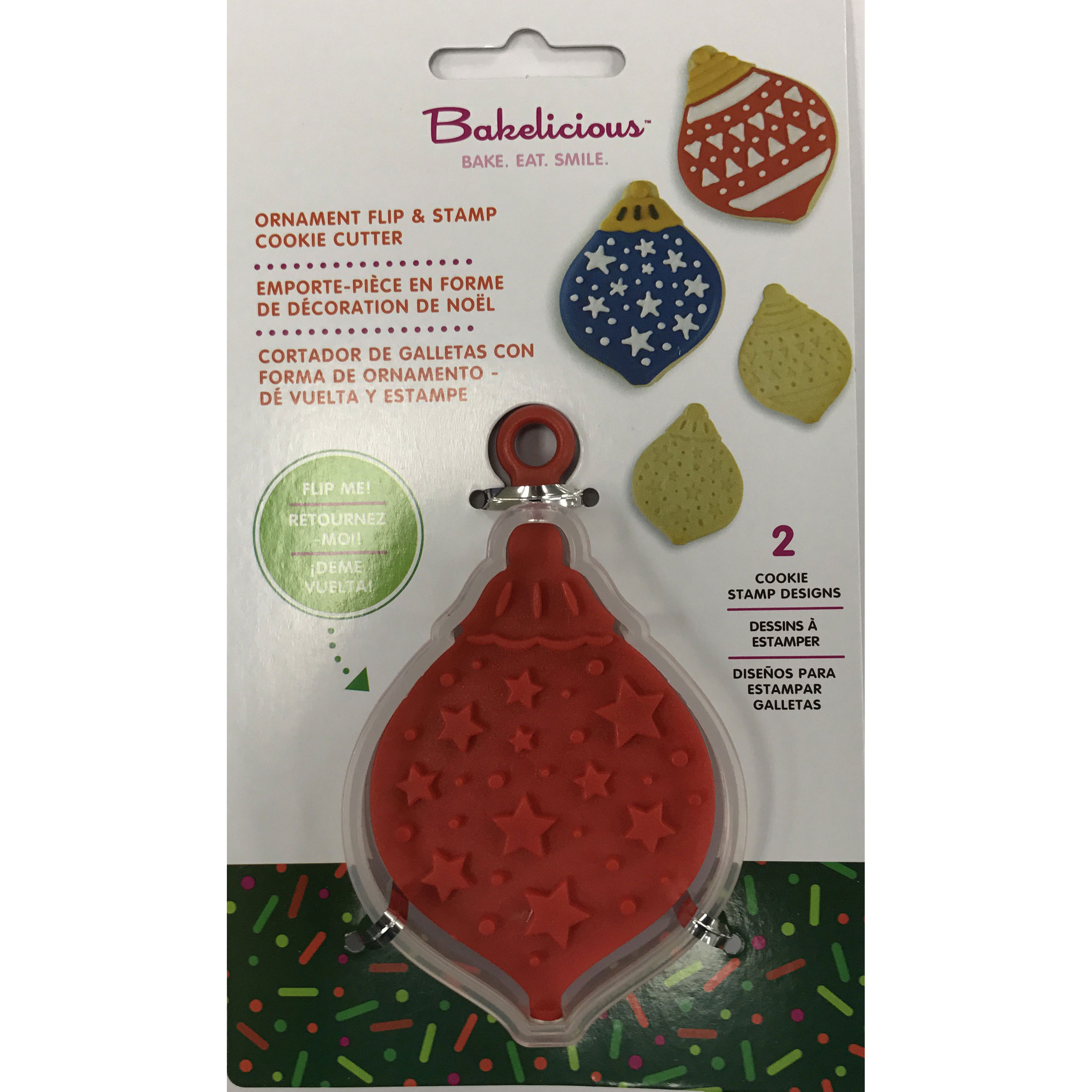 Bakelicious 72848 Christmas Ornament 3-in-1 Flip & Stamp Cookie Cutter