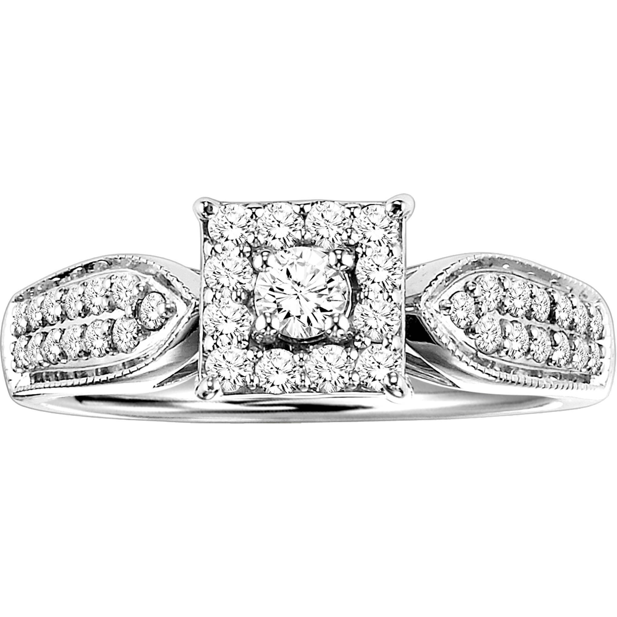 Forever Bride 3/8 Carat T.W. Diamond Princess Shaped Sterling Silver Engagement Ring