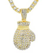 """14K Gold Plated Iced Out Hip Hop Bling Boxing Glove Pendant 1 Row Stones Tennis Chain 18"""" Necklace Choker Chain"""