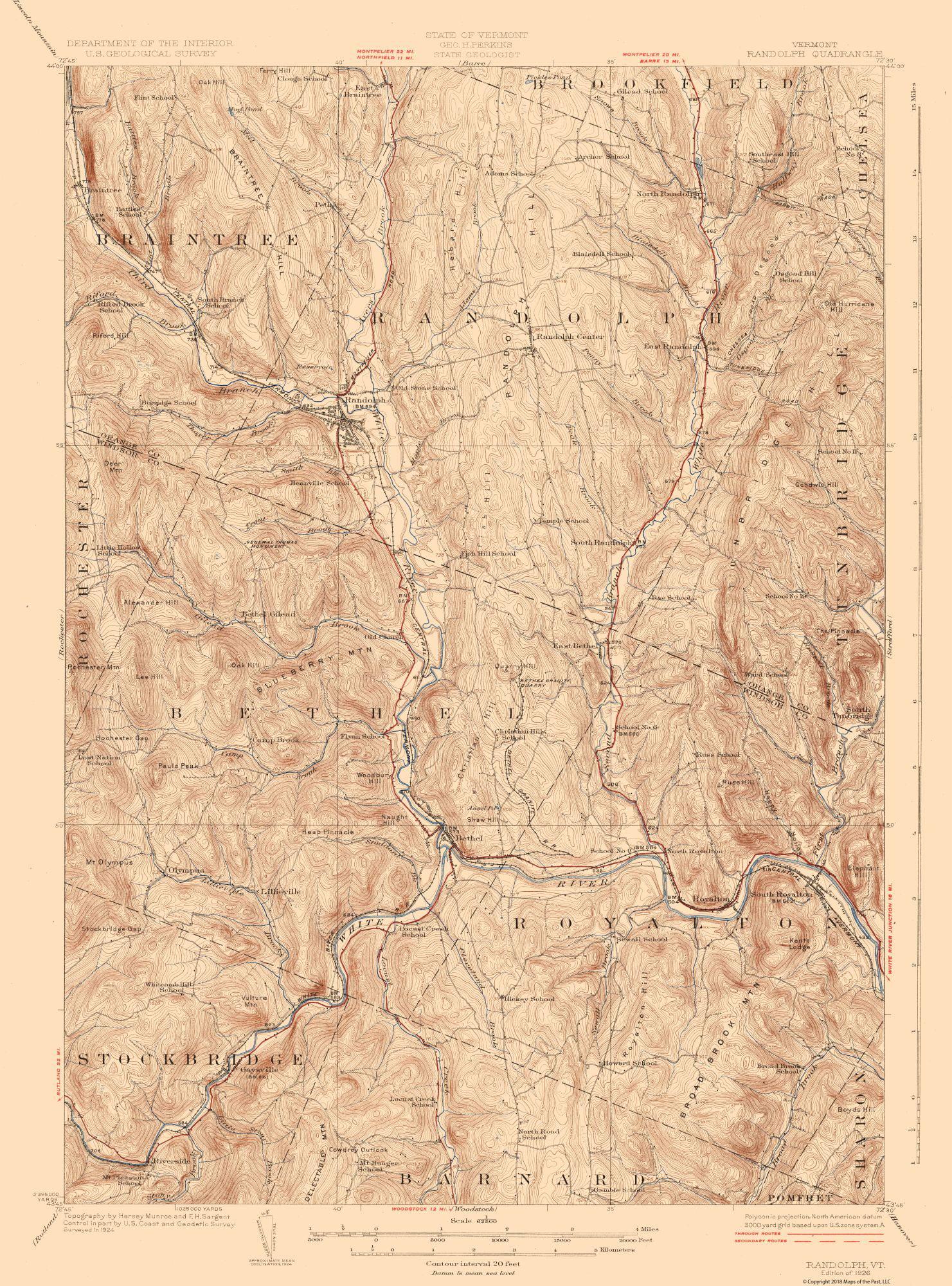Topographic Map Vermont.Topographic Map Randolf Vermont Quad Usgs 1926 23 X 31 05