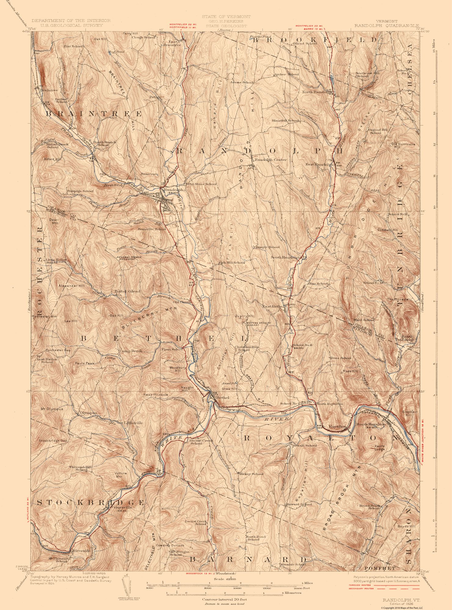 Topographic Map Randolf Vermont Quad Usgs 1926 23 X 31 05