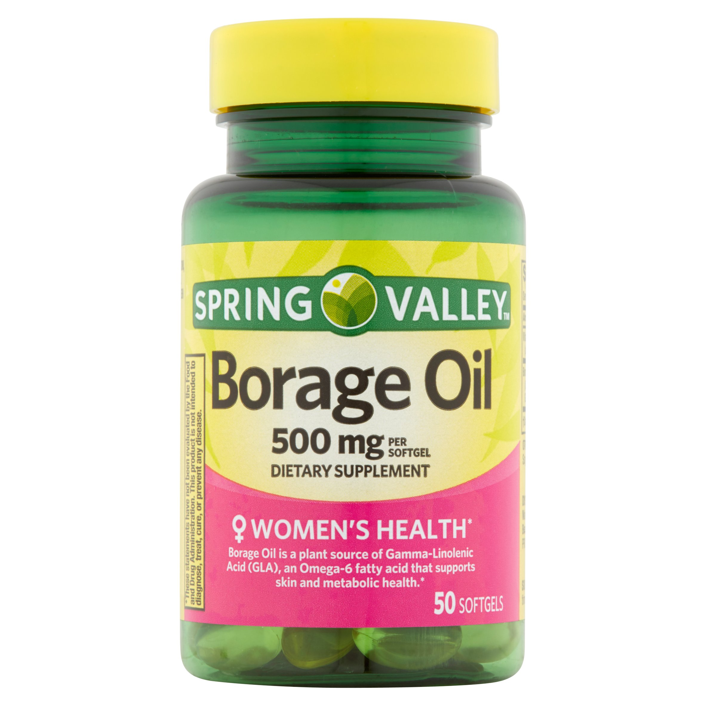 spring valley women's health* borage oil 500 mg per softgel, 50 ct, Skeleton