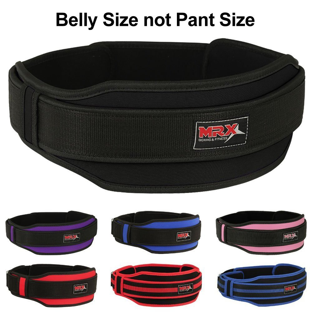 "MRX Weight Lifting Belt with Double Back Support Gym Training 5"" Wide Belts Black S"