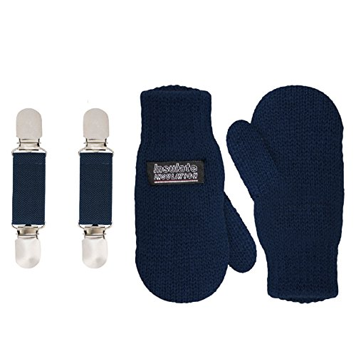 SANREMO Unisex Kids Toddler Knitted Fleece Lined Warm Winter Mittens and Mitten Clips Set (4-6 Years, Navy)
