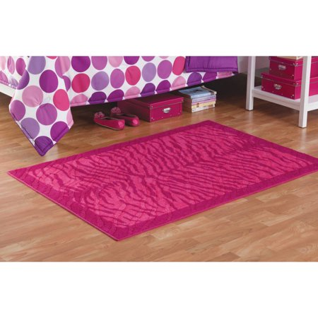 Your Zone Printed Accent Rug Pink Zebra