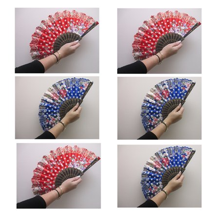 Folding Hand Fan - 6 Pc Chinese Spanish Style Hand Held Fan Lace Folding Dance Party Fan Wedding