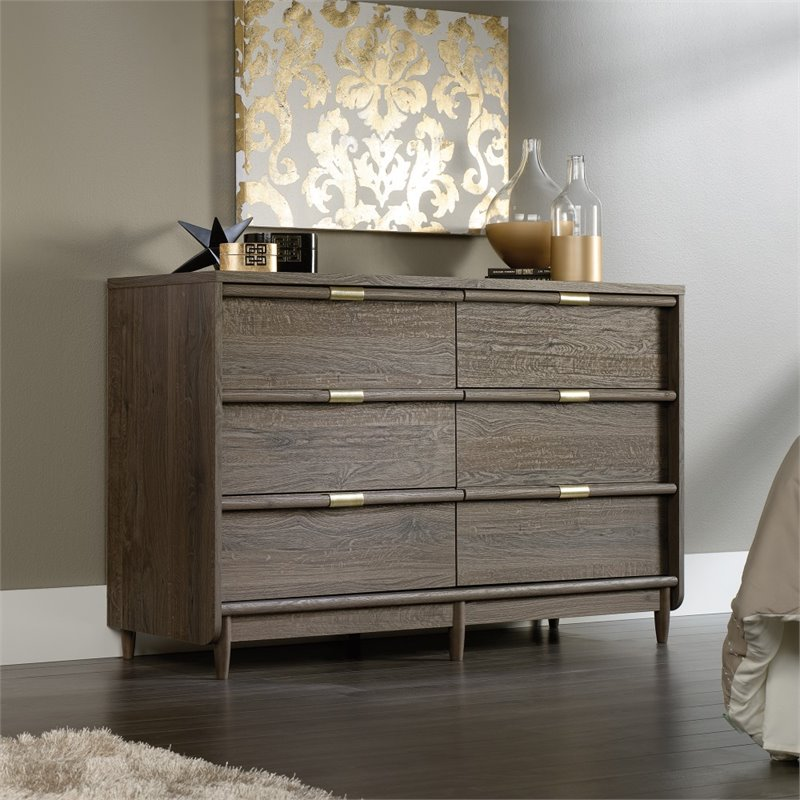 Sauder International Lux 6 Drawer Dresser in Fossil Oak
