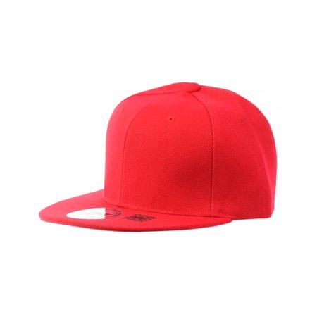 7f311305 NYFASHION101 Plain Blank Flat Bill Adjustable Snapback Cap Hat - Red -  Walmart.com