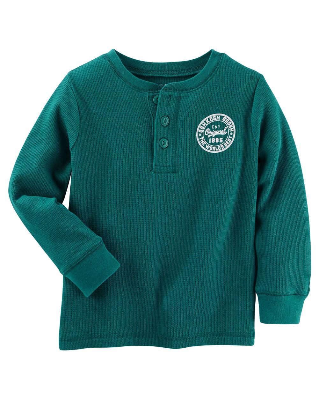 OshKosh B'gosh Baby Boys' Thermal Logo Henley, 6 Months