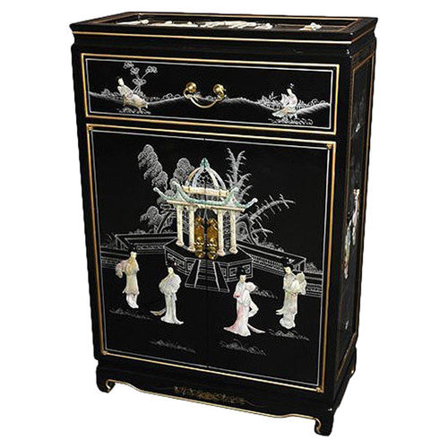 Oriental Furniture Chinese Mother of Pearl Shoe Cabinet