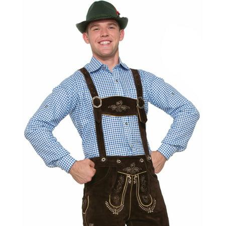 Adult's Mens German Apline Oktoberfest Lederhosen Blue Shirt - Mens Lederhosen Costume