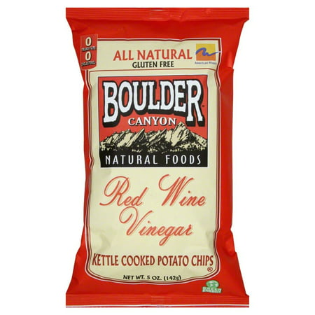 (2 Pack) Boulder Canyon Natural Foods Red Wine Vinegar Kettle Chips 5 Ounce