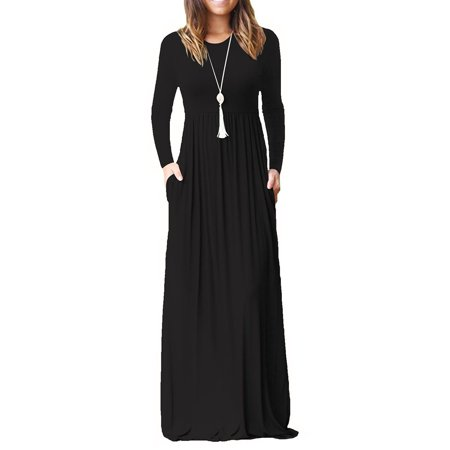 Cotton Solid Dress (Women Plus Sizes Cotton Long Sleeve High Waist Solid Long Maxi Dress with)