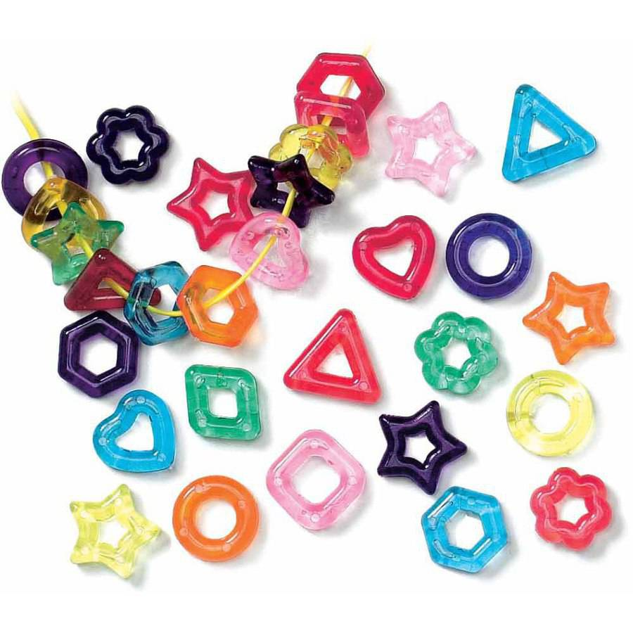 "Roylco Assorted Shape Fancy Stringing Ring, 0.63"" x 0.31"", Assorted Colors, 0.25 Pound"