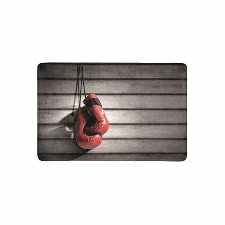 MKHERT Two Red Boxing Gloves Above Wooden Desk Doormat Rug Home Decor Floor Mat Bath Mat 23.6x15.7 inch - Above Door Decor