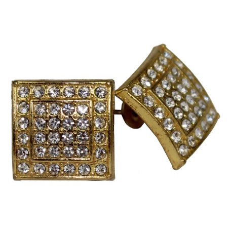 Micro Pave Square Gold Stud Earrings 11 mm Men Women Unisex ()
