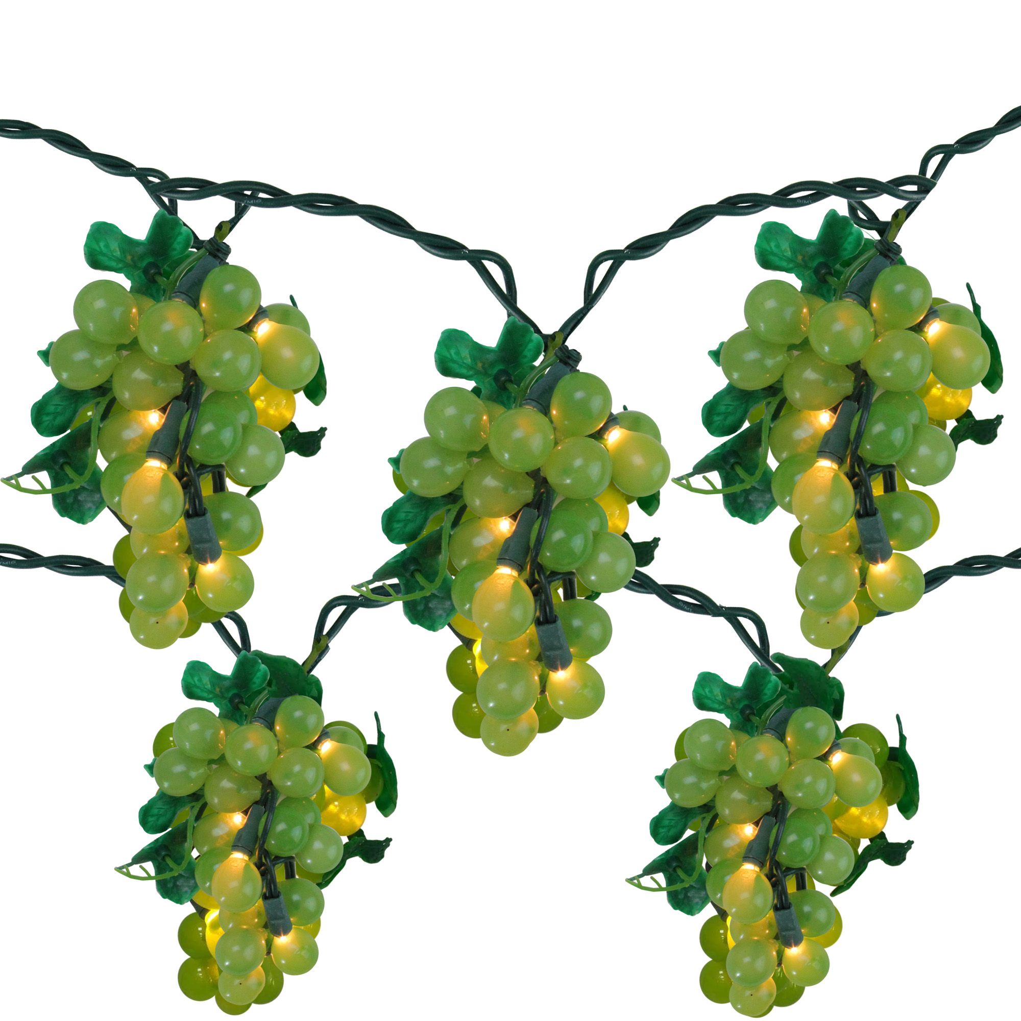 Tuscan Winery Green Grape Summer Garden Patio Christmas Light Set - 5 Clusters 35 Lights Green Wire