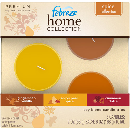 Febreze Home Collection Spice Collection Soy Blend Candle Trios, 3ct