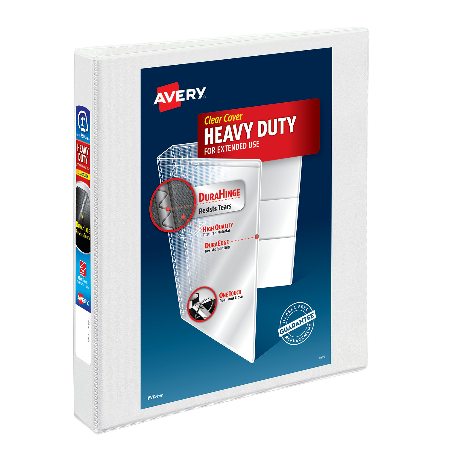 """Avery 1"""" Heavy Duty View Binder, One Touch EZD Ring, White"""