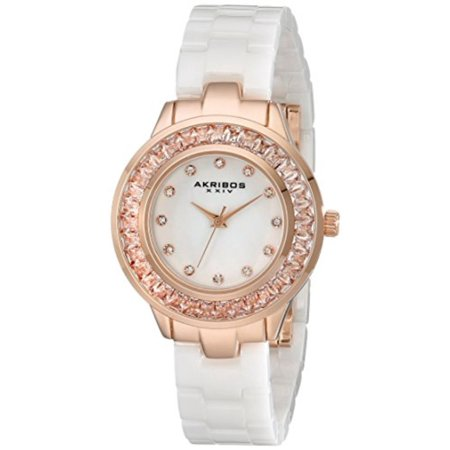 Women's AK781WTR Crystal Baguette Quartz Movement Watch with White Mother of Pearl Dial and Ceramic -