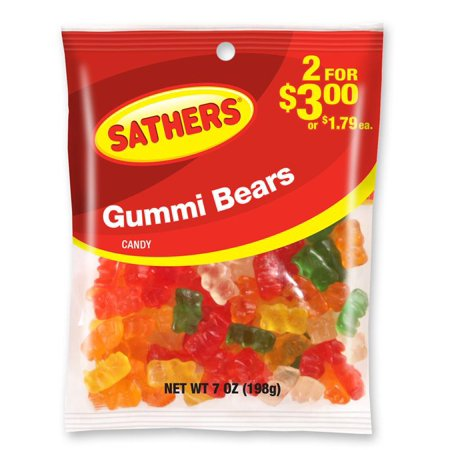 (5 Pack) Sathers, Assorted Flavors Gummi Bears, 7 - Sathers Jewelry