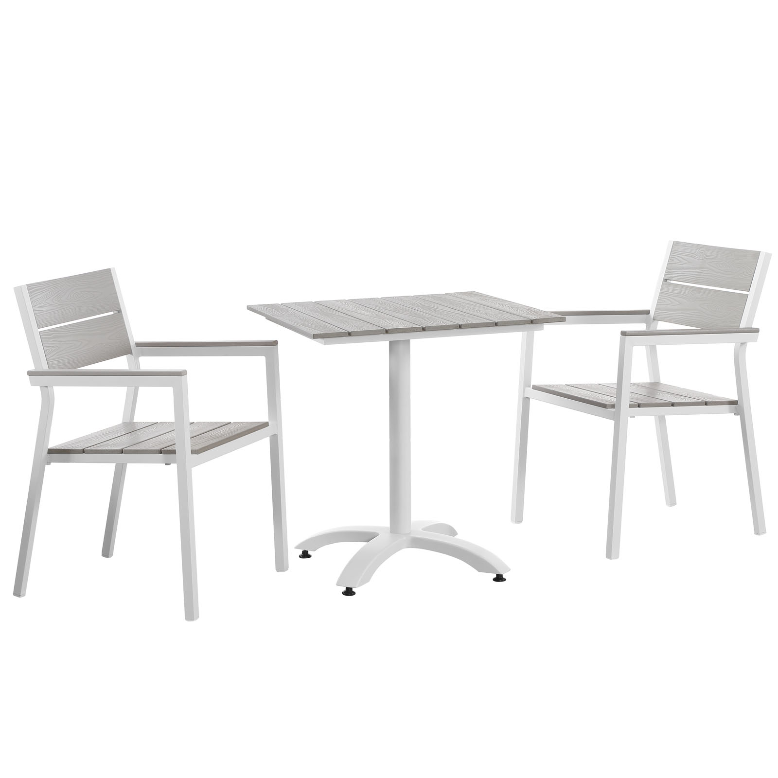 Modern Urban Contemporary 3 pcs Outdoor Patio Dining Room Set, White Light Grey Steel by