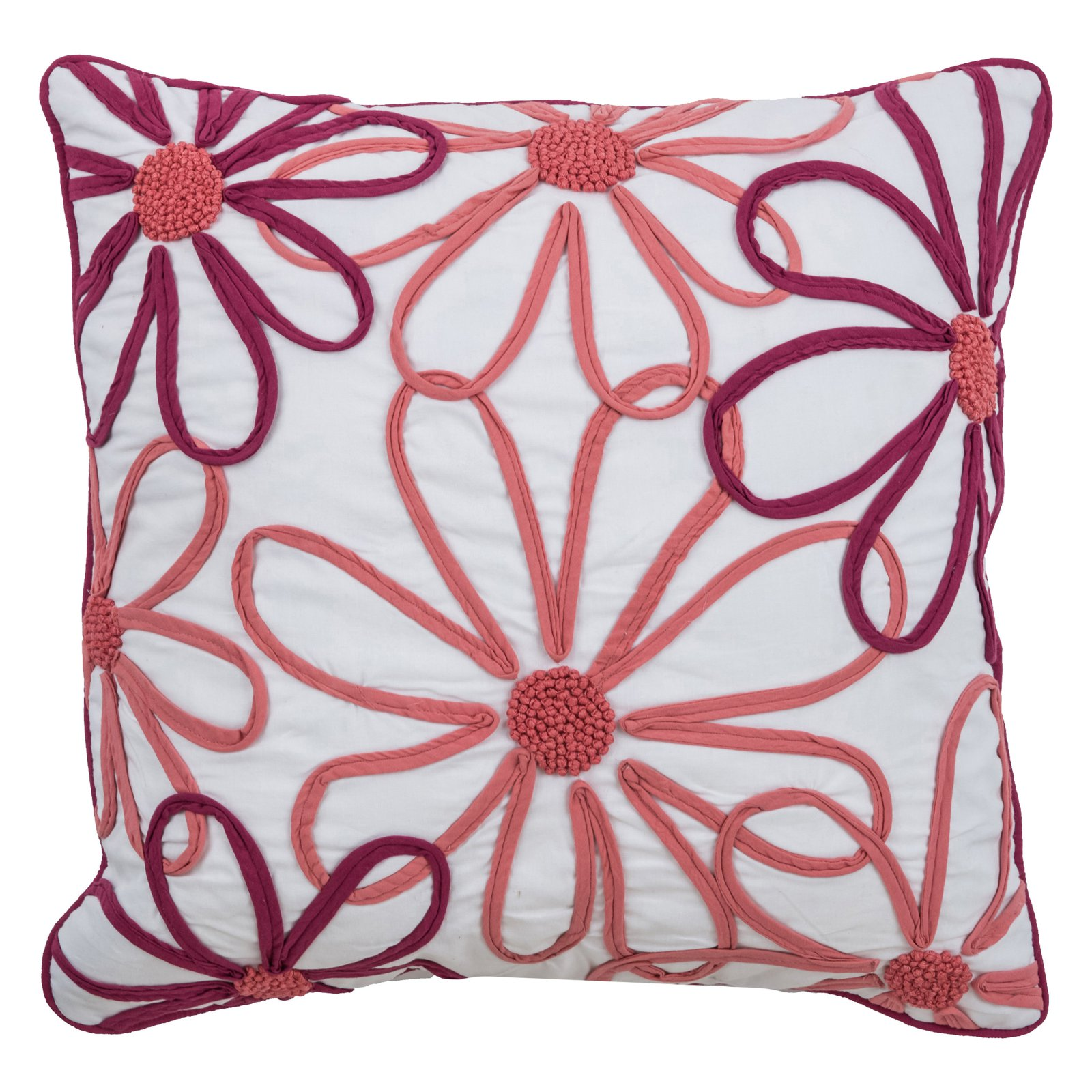 "Rizzy Home Decorative Poly Filled Throw Pillow Floral 18""X18"" Pink"
