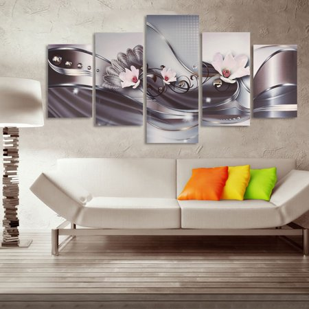 Art 5 Panels Abstract Flowers Canvas Prints Painting For Bedroom Living Room Wall Art Decoration Wooden Framed Unframed