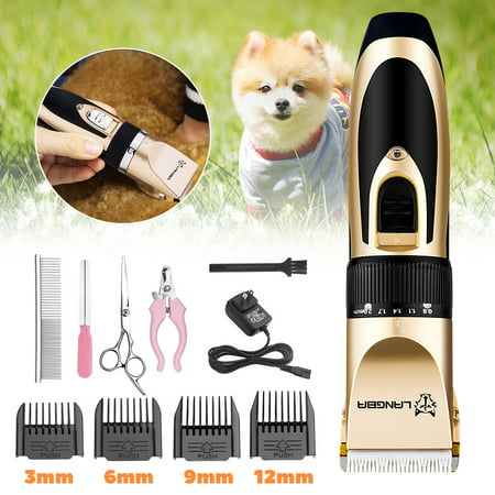11 PCS Professional 5-Speed Mute Pet Dog Cat Hair Trimmer Electric Scissors Dog Grooming Clipper Rechargeable Shaver for Pet Titanium Stainless Steel Cutting Machine