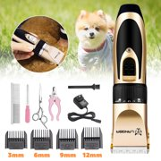 11 PCS Professional 5-Speed Mute Pet Dog Cat Hair Trimmer Electric Scissors Dog Grooming Clipper Rechargeable Shaver for Pet Titanium Stainless Steel Cutting Machine Cordless