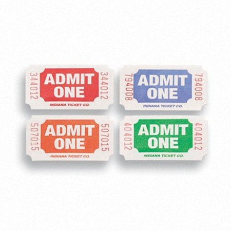 Red Blue Orange and Green Admit One Decorative Party Ticket Rolls Pack of 8 - Party Tickets
