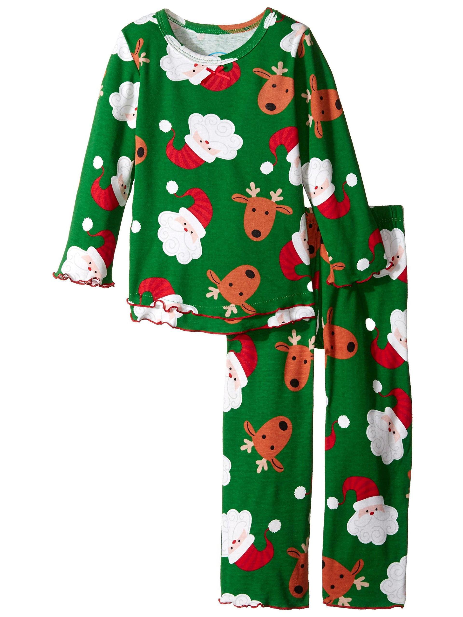 Kids Size 12 Saras Prints Girls Pink Ruffle Top /& Pant Pajama Set