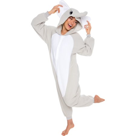 Unisex Adult Plush Animal Cosplay Costume Pajamas (Elephant)