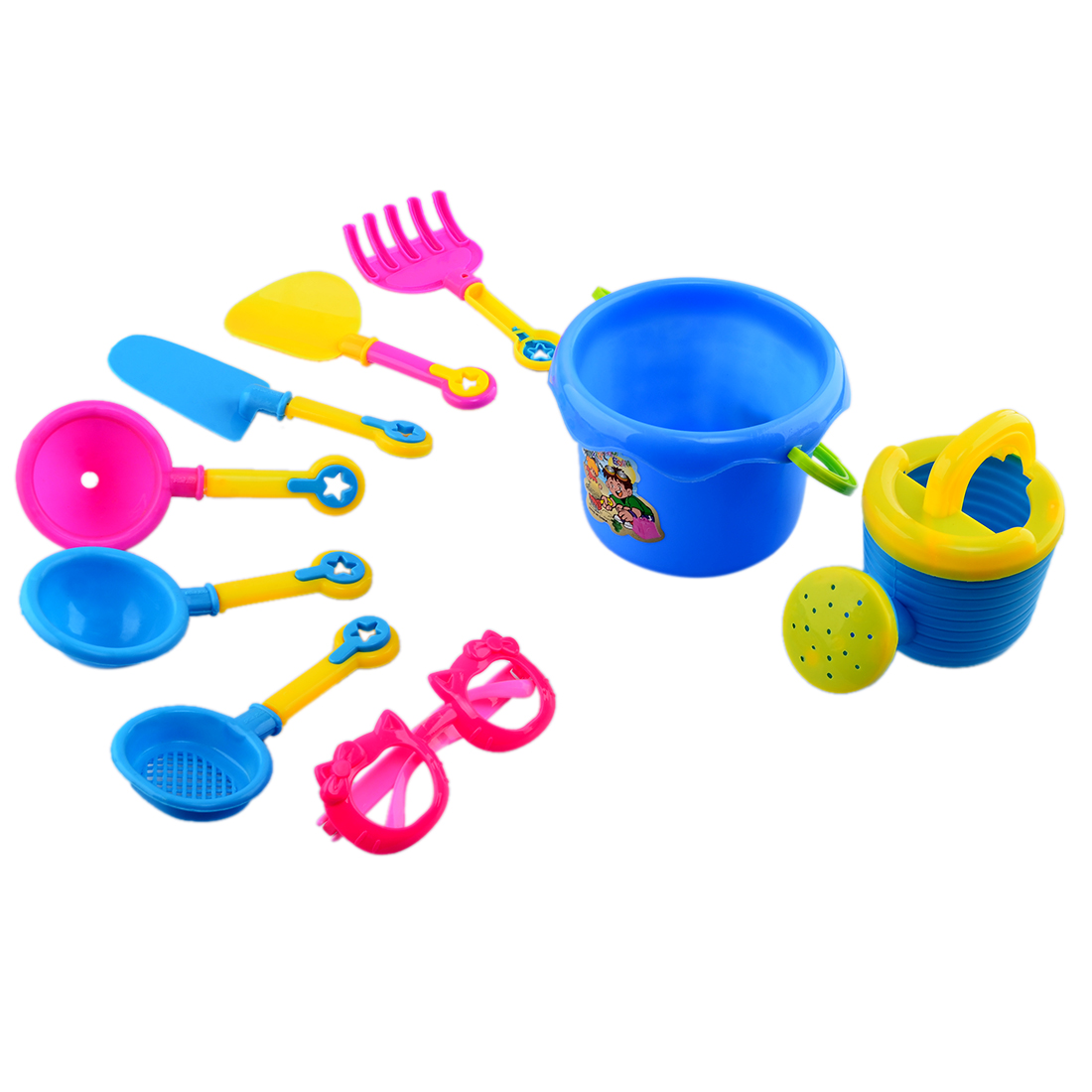 9 Pieces Kids Children Plastic Beach Sand Toys Set Shower Head Hand-held Bucket Shovels Tool Sunglasses for Kids Playing... by