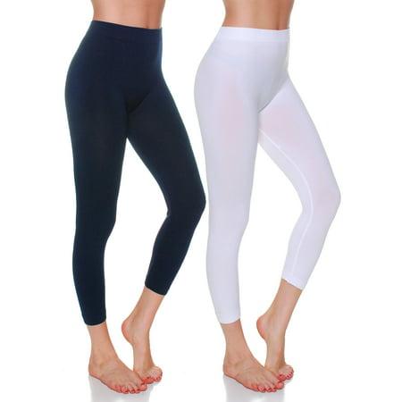07140e07140bce Emmalise - Essential Basic Women Active Athletic Capri Calf Seamless ...