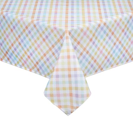 Easter Tablecloth (Sweet Gingham Tablecloth Plaid for Spring and Easter Polyester Fabric (52 x)