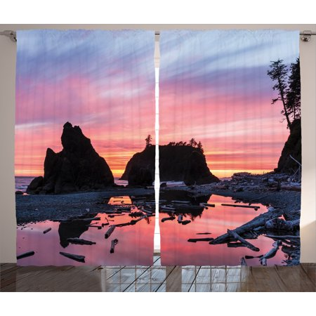 National Parks Home Decor Curtains 2 Panels Set, Sunrise in a Slow ...