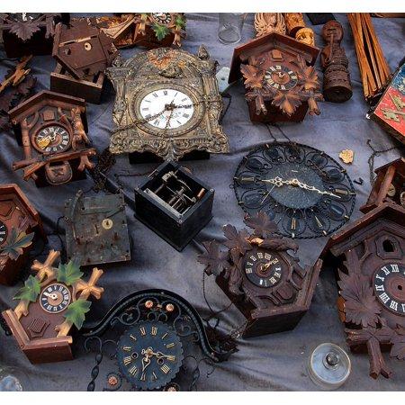 Framed Art for Your Wall Arrows Old Clock Dial Time Flea Market Clock 10x13 Frame (Arrow Clock)