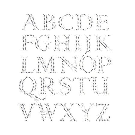 Elegant Alphabet Letter Rhinestone Stickers, Silver, 1-Inch, -