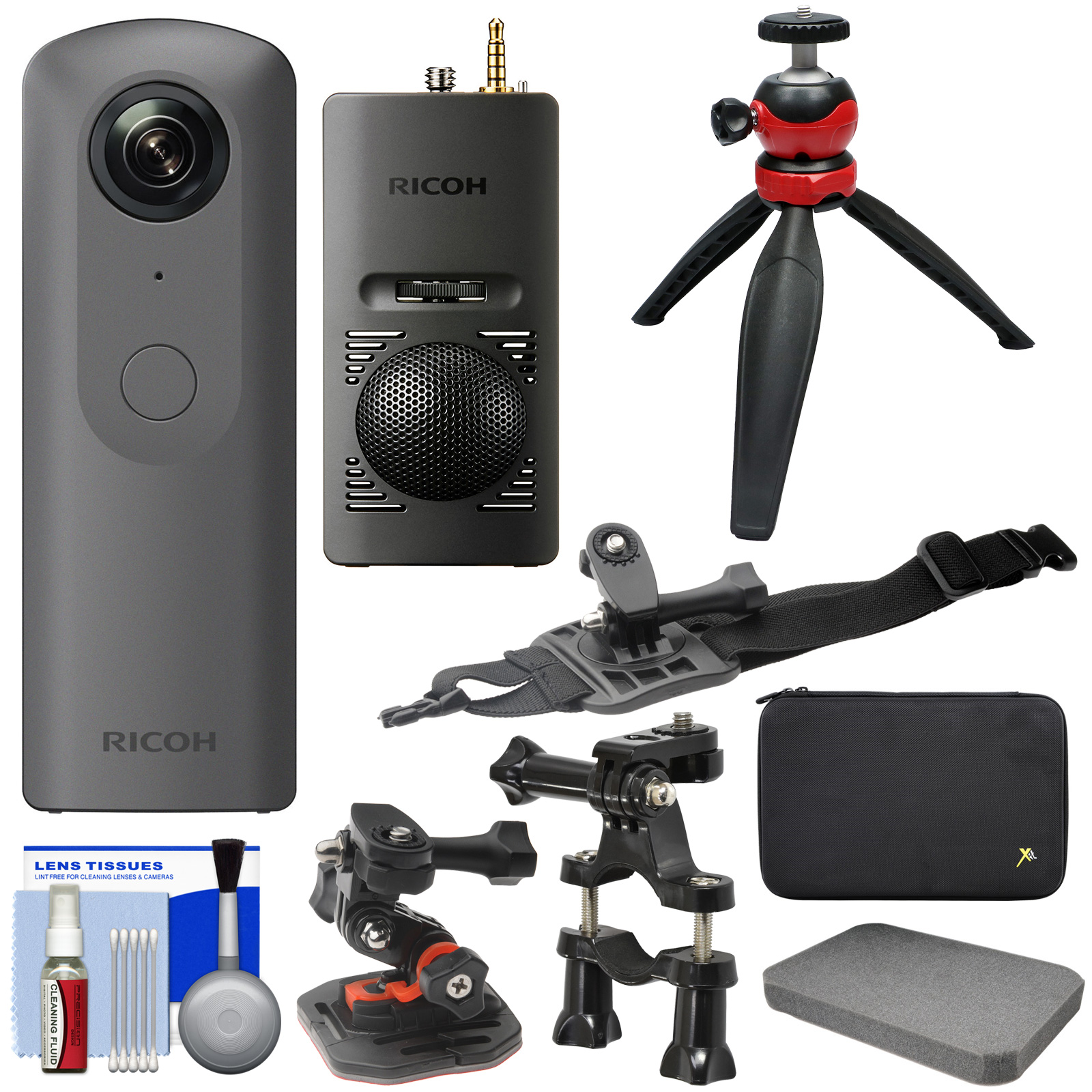 Ricoh Theta V 360-Degree Spherical 4K HD Digital Camera with TA-1 3D Microphone + Case + Action Mounts + Tripod + Kit