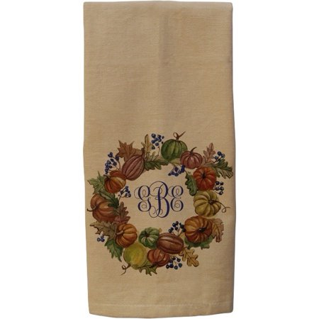 Pumpkin Wreath Monogram Kitchen Towel