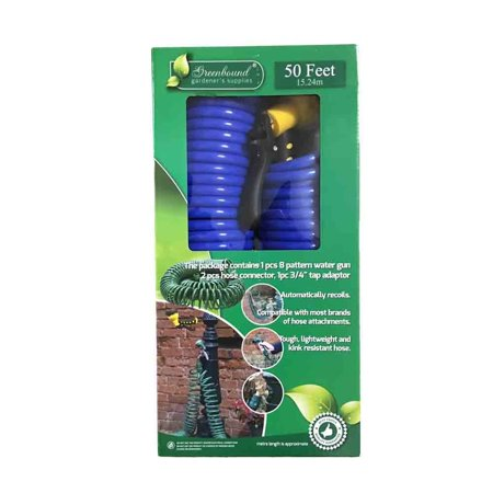 Greenbound 50 Feet Quick & Easy Release Connector Garden Coil Hose with 8 Pattern Spray Nozzle