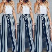 Multitrust Women's Ladies High Waisted Wide Leg Harem Trousers Palazzo Loose Beach OL Pants