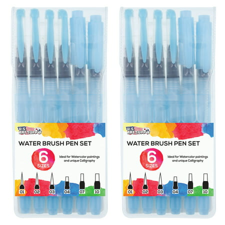 U.S. Art Supply 12-Piece Water Coloring Brush Pen (2 of each size - 01, 02, 03, 04, 07,10) - Refillable, Watercolor](Watercolor Supplies)