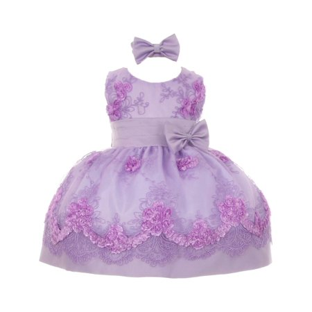 b6caefce93 Easter - Baby Girls Lilac Floral Pattern Accent Flower Girl Dress 18M -  Walmart.com