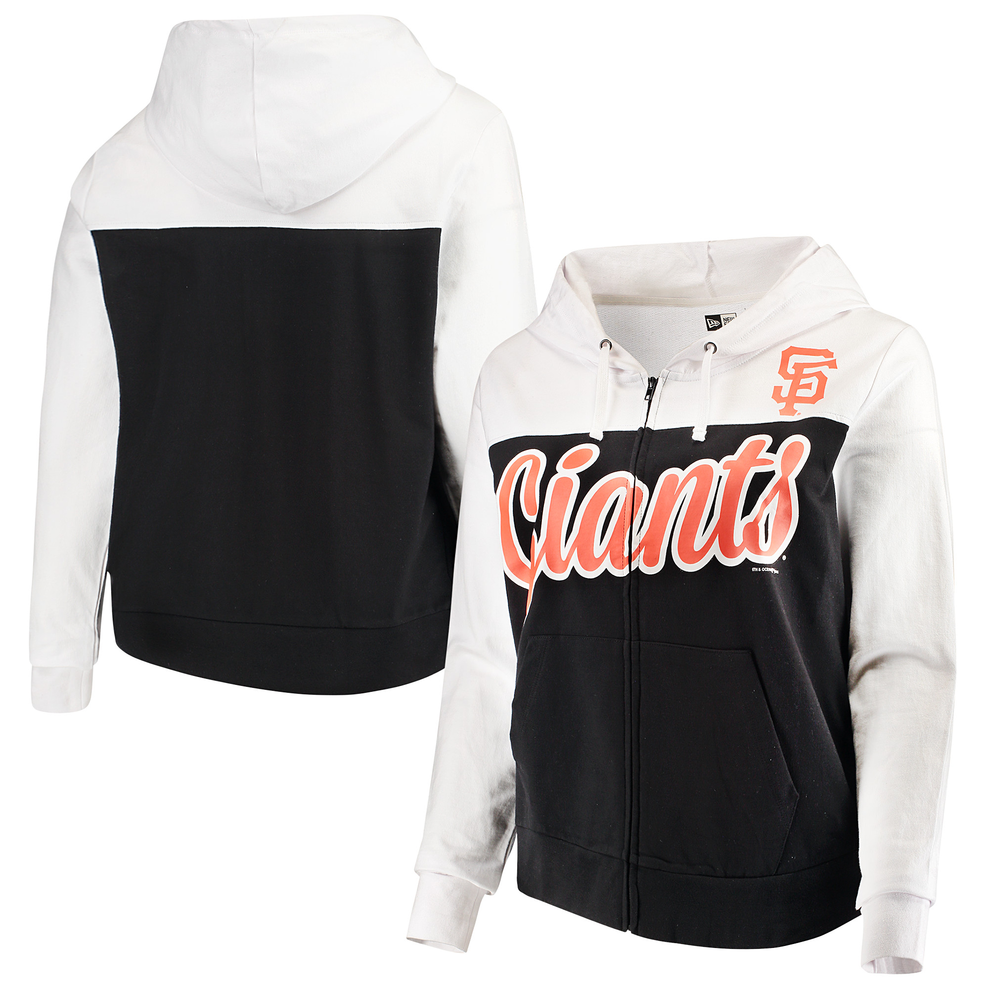 San Francisco Giants 5th & Ocean by New Era Women's Plus Size French Terry Color Block Full-Zip Hoodie - Black/White