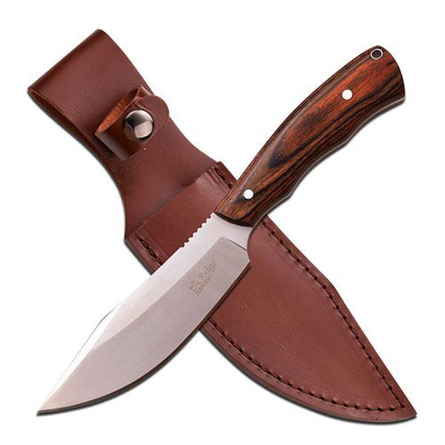"Elk Ridge Fixed Blade Knife, 10.6"", Dark Brown Wood Handle"