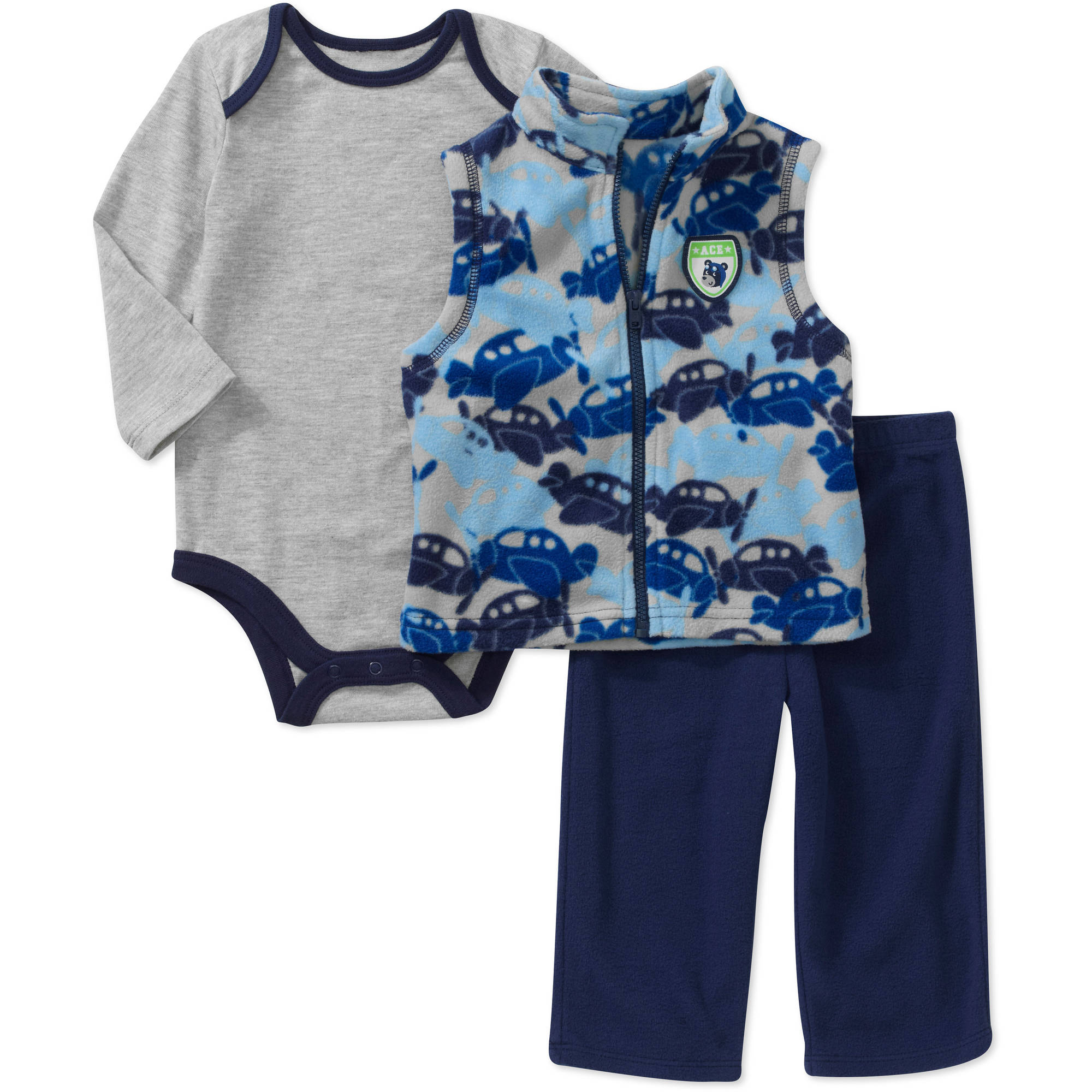 Faded Glory Newborn Boys' 3 Piece Fleece Vest, Creeper and Pant Set